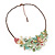 Stunning Pale Green Floral Acrylic Necklace In Bronze Tone Metal - 34cm Length - view 4