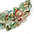 Stunning Pale Green Floral Acrylic Necklace In Bronze Tone Metal - 34cm Length - view 5