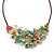 Stunning Pale Green Floral Acrylic Necklace In Bronze Tone Metal - 34cm Length - view 2