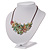 Stunning Pale Green Floral Acrylic Necklace In Bronze Tone Metal - 34cm Length - view 6