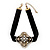 Black Velour Ribbon Diamante Filigree Cross Choker In Burn Gold Tone Metal - 29cm Length (7cm extension)