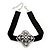 Black Velour Ribbon Diamante Filigree Cross Choker In Silver Tone Metal - 29cm Length (7cm extension) - view 1