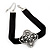 Black Velour Ribbon Diamante Filigree Cross Choker In Silver Tone Metal - 29cm Length (7cm extension) - view 10
