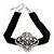 Black Velour Ribbon Diamante Filigree Cross Choker In Silver Tone Metal - 29cm Length (7cm extension) - view 7