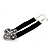 Black Velour Ribbon Diamante Filigree Cross Choker In Silver Tone Metal - 29cm Length (7cm extension) - view 9