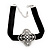 Black Velour Ribbon Diamante Filigree Cross Choker In Silver Tone Metal - 29cm Length (7cm extension) - view 5