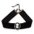 Black Velour Ribbon Simulated Pearl 'Cameo' Choker Necklace - 30cm Length & 8cm Extension - view 4
