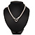 Rhodium Plated Mesh Necklace With Crystal Ring - 40cm Length