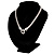 Rhodium Plated Mesh Necklace With Crystal Ring - 40cm Length - view 11