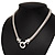Rhodium Plated Mesh Necklace With Crystal Ring - 40cm Length - view 5