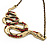 Red Crystal &#039;Snake&#039; Necklace In Bronze Finish - 46cm Length - view 3
