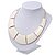 Ivory Enamel Egyptian Bib Style Choker Necklace In Gold Plating - 38cm Length /7cm Extension - view 9