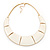 Ivory Enamel Egyptian Bib Style Choker Necklace In Gold Plating - 38cm Length /7cm Extension - view 3
