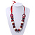 Chunky Burgundy Wood, Glass & Fabric Bead Necklace On Silk Ribbon - Adjustable