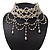 Cream Gothic Costume Choker Necklace (Silver Tone Metal)