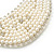 White Simulated Pearl Clear Crystal Felt Peter Pan Collar Necklace In Silver Plating - 28cm Length/ 7cm Extension - view 6