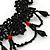 Stunning Jet Black/Red Acrylic Bead Lacy Style Choker - 28cm Length/ 6cm Extension - view 5
