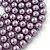 Long Purple Glass Bead Necklace - 140cm Length/ 8mm - view 2