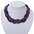 Luxurious Braided Purple Bead Choker Necklace In Silver Plating - 36cm Length/5cm Extension - view 2