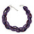 Luxurious Braided Purple Bead Choker Necklace In Silver Plating - 36cm Length/5cm Extension - view 3
