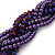 Luxurious Braided Purple Bead Choker Necklace In Silver Plating - 36cm Length/5cm Extension - view 4