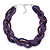 Luxurious Braided Purple Bead Choker Necklace In Silver Plating - 36cm Length/5cm Extension - view 1