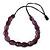 Purple Wood Bead Black Cotton Cord Necklace - 74cm Length