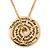 Gold Tone Audrey Hepburn Inscription Round Medallion Pendant and Chain - 41cm Length/ 7cm Extension