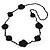 Long Black Floral Crochet, Glass Bead Necklace - 96cm Length