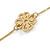 Long 2 Strand Matt Gold Floral Necklace - 98cm L - view 5