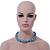 Light Blue & Silver Tone Acrylic Bead Cluster Choker Necklace - 38cm L/ 5cm Ex - view 8