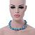 Light Blue & Silver Tone Acrylic Bead Cluster Choker Necklace - 38cm L/ 5cm Ex - view 4