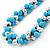 Light Blue & Silver Tone Acrylic Bead Cluster Choker Necklace - 38cm L/ 5cm Ex - view 5
