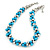 Light Blue & Silver Tone Acrylic Bead Cluster Choker Necklace - 38cm L/ 5cm Ex - view 2