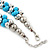 Light Blue & Silver Tone Acrylic Bead Cluster Choker Necklace - 38cm L/ 5cm Ex - view 7