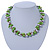 Lime Green & Silver Tone Acrylic Bead Cluster Choker Necklace - 38cm L/ 5cm Ex