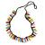 Funky Multicoloured Zipper Cotton Cord Long Necklace - 82cm L