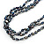 7mm Black/ Grey Rice Freshwater Pearl, 3 Strand Twisted Necklace - 41cm L/ 5cm Ext - view 6