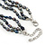 7mm Black/ Grey Rice Freshwater Pearl, 3 Strand Twisted Necklace - 41cm L/ 5cm Ext - view 4