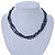 7mm Black/ Grey Rice Freshwater Pearl, 3 Strand Twisted Necklace - 41cm L/ 5cm Ext - view 7