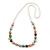Multicoloured Shell Pearls with Crystal Glass Beads Long Necklace - 80cm L - view 1