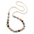 Multicoloured Shell Pearls with Crystal Glass Beads Long Necklace - 80cm L - view 8