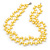10mm Bright Yellow, Pear Shape Freshwater Pearl 2 Strand Necklace - 43cm L - view 8