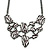 Black/ White Zebra Print Bib Style Statement Necklace In Black Tone Metal - 39cm L/ 7cm Ext/ 8cm Bib