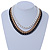 Black/ Brushed Gold/ White Square Link Layered Necklace with Magnetic Closure - 43cm L - view 2