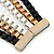 Black/ Brushed Gold/ White Square Link Layered Necklace with Magnetic Closure - 43cm L - view 4
