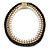 Black/ Brushed Gold/ White Square Link Layered Necklace with Magnetic Closure - 43cm L - view 5