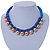 Blue Silk Cord With Gold/ Silver/ Rose Gold Balls Choker Necklace - 42cm L/ 5cm Ext - view 1