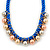 Blue Silk Cord With Gold/ Silver/ Rose Gold Balls Choker Necklace - 42cm L/ 5cm Ext - view 3