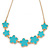 Cyan Blue Enamel Floral Necklace In Gold Tone - 40cm L/ 8cm Ext